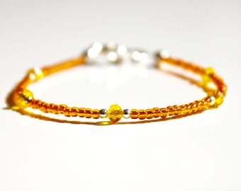 Seed bead bracelet, oranange bracelet, stack bracelet, Ibiza bracelet, boho bracelet, delicate bracelet, rocaille bracelet, friendship