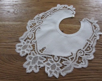 White linen and lace renaissance 11049 former baby bib