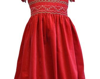 Girls Red Velvet Smocked Christmas Dress. Size 2T