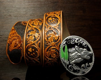 Hand-tooled leather belt, hand-carved belt, sheridan belt, wolf belt, carved leather belt, custom belt