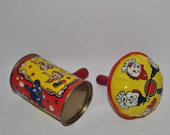 Kirchhof Tin Toys - noise makers / rattles  in red and yellow