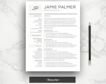 Creative Resume Template | CV Template | Professional Word Resume Template | Simple Resume Design with Cover Letter | Download for Mac or PC