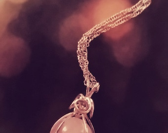 Wire Wrapped Caged Rose Quartz Ball Pendant Necklace, Gift idea for her