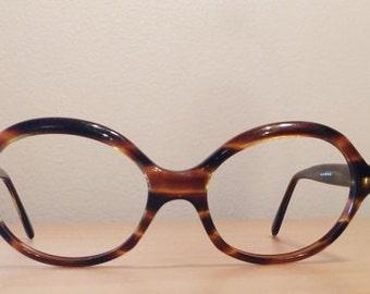 Vintage Tortoise Shell Glasses Frames, Poriss 1960s Glasses, Funky Mod Hipster 1970s Eyeglass Frames Made by Poriss,
