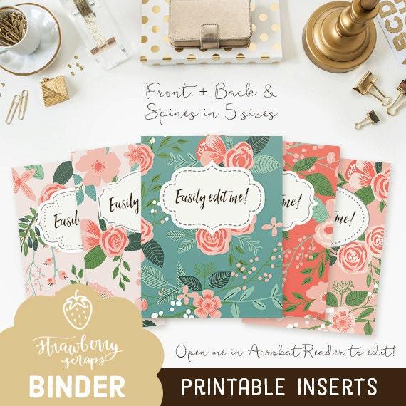 binder cover printable  coral flowers 5x set