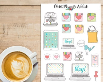 Social Media And Blogging Planner Stickers | Illustrated Stickers | Blogger Stickers | Social Media Stickers (S-143)