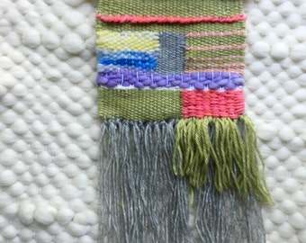 Handwoven Wall Art / Woven Wall Hanging Tapestry / Fiber Art / Chartreuse, Coral, Lavender, Coral, Silver, Yellow