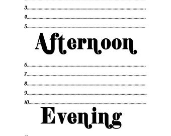 Morning, Afternoon, Evening to do list and doodle pad printbable for A5 Filofax Planners
