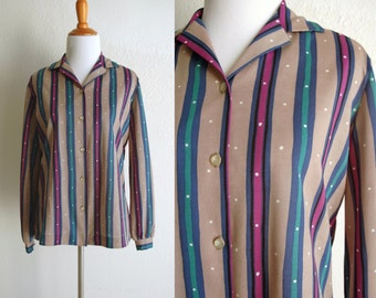 70s Brown Purple Green Striped Party Shirt with White Dots Size Medium