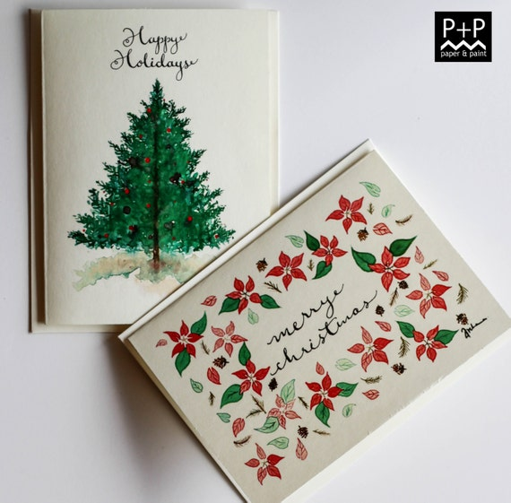 Affordable Holiday Greeting cards on Ivory Card stock. 2 cards per set. Christmas cards. Original artwork prints.
