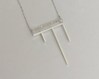 Chai Necklace, Chai Pendant, Sterling Silver Necklace, Sterling Silver Necklace Pendant, Minimalist Necklace, Geometric Necklace, Geometric