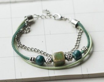 Beaded Braided Bracelet,Friends Bracelet,Green B-02
