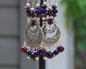 Blue Lapis Lazuli and Red Garnet Earrings ~ Chandelier Earrings ~ Statement Earrings ~ Boho Bohemian Jewelry~ Formal Earrings ~ Anniversary