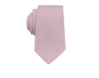 Blush Pink  Linen Tie.Blush Pink Wedding Tie.Necktie for Men.