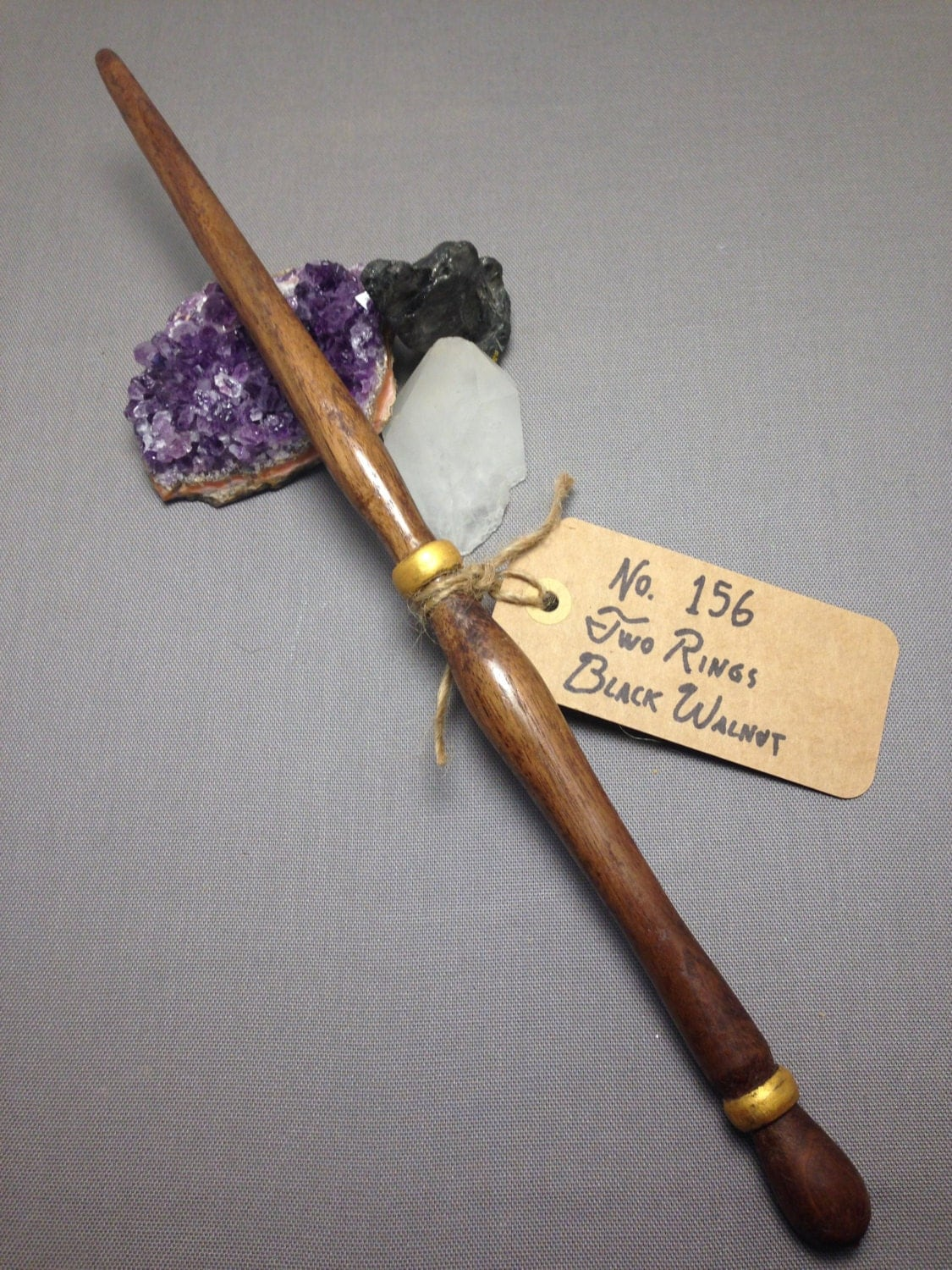 Witch Wands Real: Wood Magic Wand No. 156 Two Rings Walnut Wizard Scepter Witch