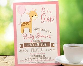 Baby Shower Invitation Giraffe Girl - Printable DIGITAL FILE