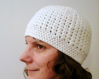 Crochet Hat for Women, Crochet Beanie Hat for Women, Winter Hat for Women, White Crochet Beanie Hat