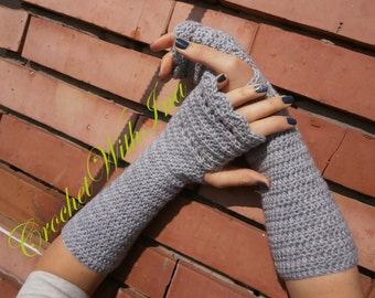 READY TO SHIP/Long fingerless gloves/Office fingerless gloves/Stylish crochet fingerless/driving gloves/Handknit armwarmers