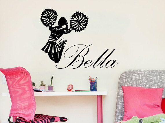 Wall decal girl name i cheer cheerleader sticker personalized for Cheerleader wall mural