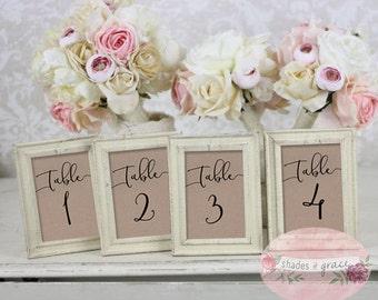 Rustic Table Numbers, Wedding Table Numbers, Brown Paper Table Numbers, Wedding Decor, Printable Table Numbers, Numbers 21-30, Download
