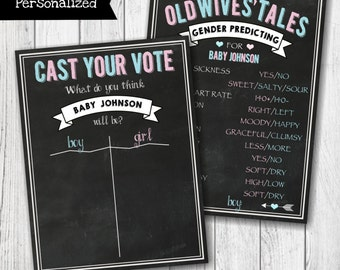 Cast Your Vote Chalkboard Gender Reveal Party Sign -  Old Wives' Tales Gender Reveal Party Sign - Gender Predicting - Digital File -