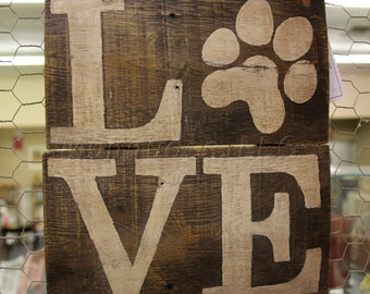 Tan Dog Love Wooden Sign