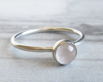 Pink Quartz Dainty Ring Anniversary Gifts for Her- Rose Quartz Ring - Silver Gemstone Ring for Women - Thin Silver Ring  Minimalist Ring