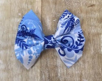White and Blue Floral Hair Bow