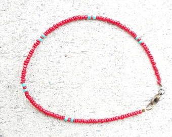 Beaded Anklet, Seed Bead Anklet, Red Beaded Anklet, Seed Beaded Anklet, Thin Anklet, Red Seed Bead Anklet, Minimal Anklet, Simple Anklet
