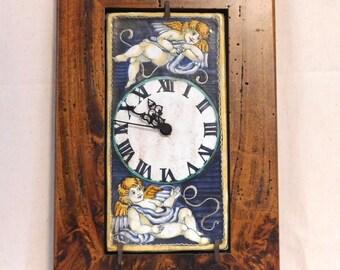 Rare Saca Castelli clock with cherubs--Italian majolica
