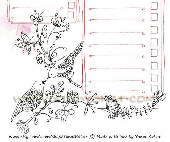 Coloring Book Lineup : Love birds daily planner organise your day A 4 Printable