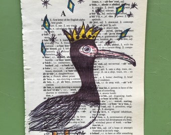 Queen Magpie Goose on Dictionary paper - Original Drawing
