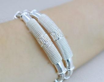Vintage Sterling Silver Tribal Bracelet