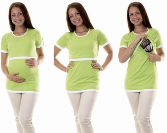 Maternity shirt still shirt 3 in 1 lime nursing top