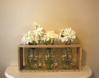 Mason Jar & Wood Vases