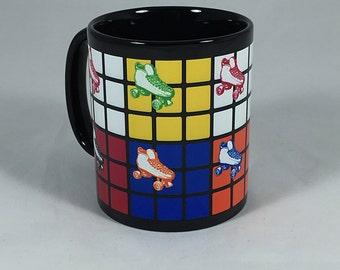 80s Mug Retro 80s Style Black Ceramic 11oz - Rubiks Cube and Rollerskates Mug - 80s Gift Mug - Roller Skates Gift - Rubiks Cube Gift
