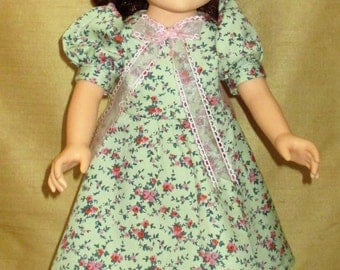 """18"""" doll dress, doll clothes, doll clothing, pink and green floral doll dress with satin ribbon"""