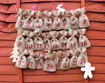 "Small Rustic Christmas Hessian Burlap Jute Advent Calendar Pouches Sacks Bags 9 x 15cm (3.5"" x 6"")"