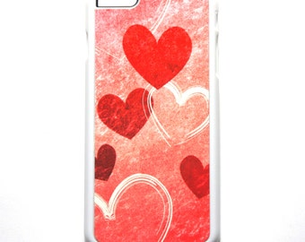 Pink Cell Phone Cover, Hearts in Pink and White for all iPhone models, Girly iPhone Case