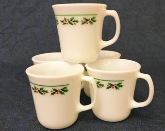 Vintage Corning Corelle Milk Glass Coffee Mugs Holly Days Christmas Pattern, Set of 5