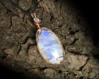 Rainbow Moonstone and Herkimer Diamond Necklace