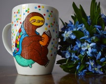 Sloth Reading a Book Coffee Mug Sloth Gigt Custom Present for Book Lovers  Sloth Reading on Soft Pillow under Warm Blanket