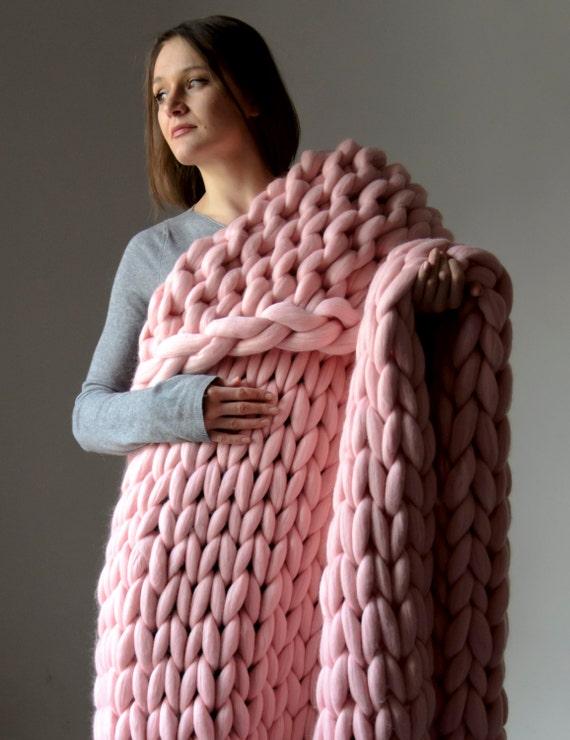 Extreme Knitting Blanket Pattern : Large Chunky Blanket. Knitted blanket. Merino Wool by bloisem