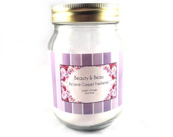 Room Fragrance Vegan & Natural - Air Freshener - Rose and Sweet Orange - Non Toxic - Made with Sodium Bicarbonate and Essential Oils