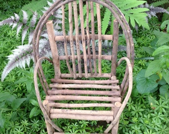Cute Old Miniature Twig Chair for Doll