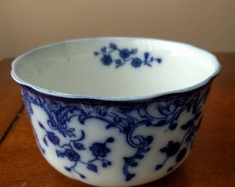 FLOW BLUE MUSH Bowl, W. H. Grindley Co, England, Marie Pattern, Vintage, Antique, 1891-1914