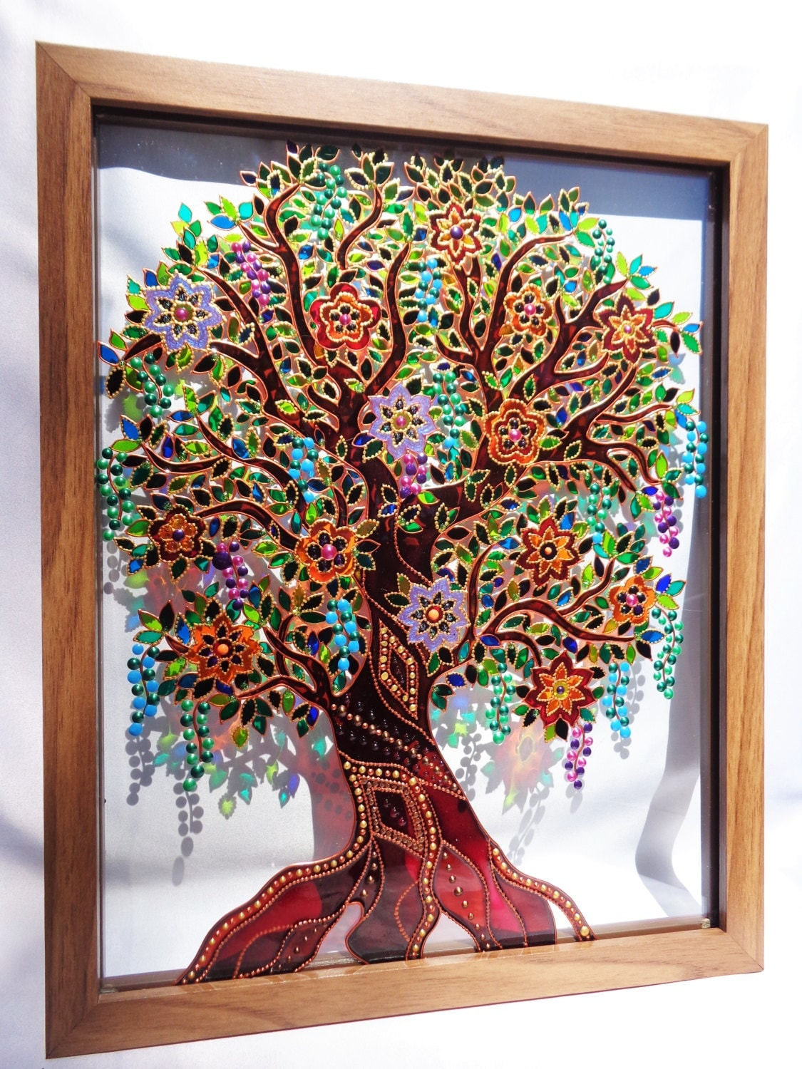 Tree Of Life Art 15x12 Glass Painting Original