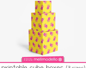 """Printable cube shape boxes """"Georgette"""", 3 sizes, Print at will, downloadable, DIY,"""