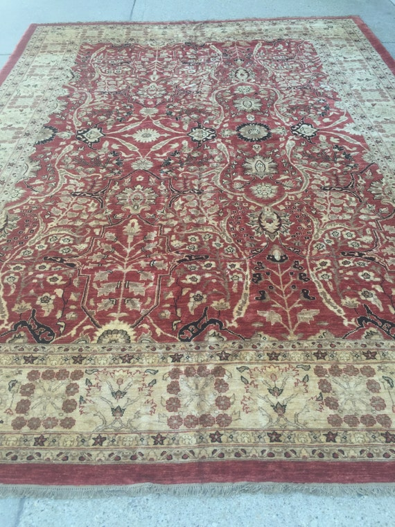 "10'1"" x 13'6"" Pakistani Peshawar Serapi Design Oriental Rug - Hand Made - Vegetable Dye - 100% Wool"