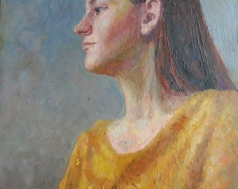 FEMALE PORTRAIT Original Oil Painting by Ukrainian Artist Kozyr' L. 2015, Signed, Ukrainian Art, Woman Portrait, High Quality